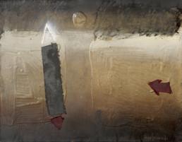 'Nos vamos entre luces y sombras' obra de Fernando Peiró Coronado. Pintura realizada con óleo, ceras y tela sobre tabla preparada con polvo de mármol.