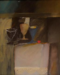 'Bodegón de las copas' obra de Fernando Peiró Coronado, pintura realizada sobre tabla preparada con arena y létex. Medidas, 55x46.