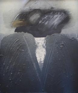 Pintura 'Hacia dónde' de Fernando Peiró Coronado , spray y óleo sobre tabla prepada matéricamente . Medidas 55x45.