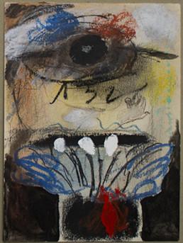 Pintura de pequeño formato realizada con ceras sobre cartulina por el artista valenciano Peiró Coronado en 1973. Medidas 17x13.