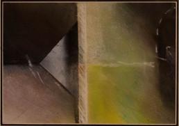 Pintura de pequeño formato 'Repetición de espacios' de Fernando Peiró Coronado realizada con ceras sobre cartulina. Medidas 15x21.