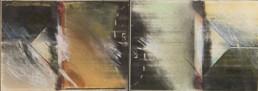 'Repetición de espacios en el tiempo' obra de Fernando Peiró Coronado Pintura realizada con ceras sobre cartulina. Medidas 11x30.