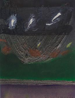 'Conversando a solas con su paisaje' obra de Fernando Peiró Coronado. Medidas, 20x14. Técnica mixta: óleo y spray sobre cartulina preparada matéricamete.