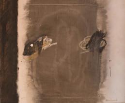 'Diálogo melancólico' obra de Fernando Peiró Coronado. Medidas, 50x60. Técnica mixta: óleo y ceras sobre tabla preparada con arena y látex.