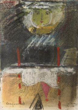 'Mujer dispuesta para la posteridad', obra de Fernando Peiró Coronado. Pintura de pequeño formato realizada con ceras sobre cartulina en 1990