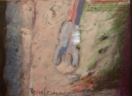 Pintura de pequeño formato realizada sobre reprografía con ceras y pastel. Ejemplar de una serie de unos 60/70 trabajos que Peiró Coronado realizó en 1990 como felicitación navideña.