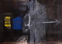 'Apuntando con firmeza' obra de Fernando Peiró Coronado. Pintura de pequeño formato realizada con ceras, óleo y pastel sobre cartulina.