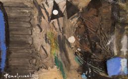 Obra de pequeño formato de Fernando Peiró Coronado. Técnica mixta: óleo, ceras, tela y papel sobre tabla preparada con polvo de mármol.
