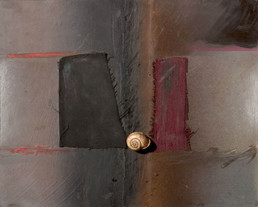 'Siempre con resonancias de la elipse' obra de Fernando Peiró Coronado. Medidas, 32x40. Técnica mixta: óleo, spray, ceras, tela y caracol sobre tabla preparada con polvo de mármol y látex.x,