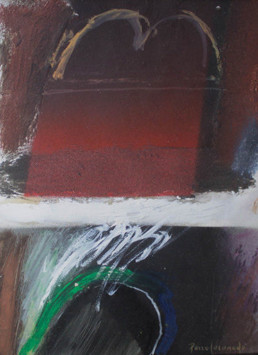 'Sobre recuerdos y añoranzas' obra de Fernando Peiró Coronado. Técnica mixta: óleo, spray y ceras sobre tabla preparada con arena y látex.