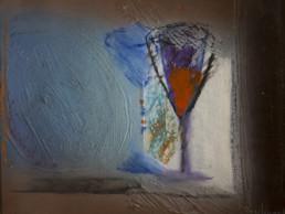 'Paisaje nocturno' obra de Fernando Peiró Coronado. Técnica mixta: óleo, spray y ceras sobre cartulina preparada con arena y látex.