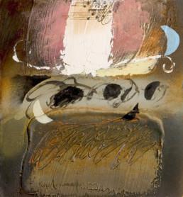 'Ritmos musicales' obra de Fernando Peiró Coronado . Muchas son las obras del artistacon la música como protagonista. Óleo y ceras sobre tablero preparado con polvo de mármol.