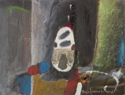 'Ritmos con dos violines' obra de Fernando Peiró Coronado. Técnica mixta: óleo, spray y ceras sobre tablero preparado con arena y látex. Medidas, 25x32.
