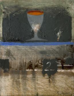'Brindis en Venecia', pintura de Fernando Peiró Coronado. Medidas, 32x25. Pintura realizada con óleo y ceras sobre lienzo preparado matéricamente..
