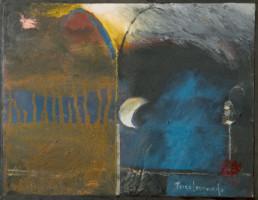 'Noche en Granada' pintura de Fernando Peiró Coronado. Medidas, 25x33. Pintura realizada con óleo y ceras sobre cartulina