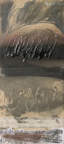 Pintura de Fernando Peiró Coronado realizada en 1998 'Composición musical' , técnica mixta: óleo, spray, collage y lápiz sobre tablero.