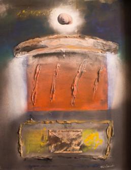 'Cuántas palabras y añoranzas', obra de Fernando Peiró Coronado. Medidas, 91x72. Técnica mixta: óleo y spray sobre tabla preparada matéricamente.