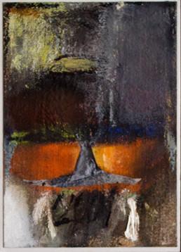 'Copa dispuesta para bendición', obra de Peiró Coronado. Medidas, 21x15. Técnica mixta: óleo, ceras, pastel y papel sobre cartulina preparada con arena y látex.