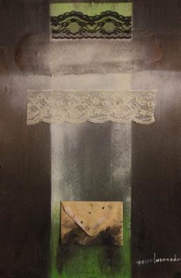 'Cosas que nunca te dije', obra de Fernando Peiró Coronado. Medidas, 50x33. Técnica mixta: óleo, spray, ceras, puntillas y papel sobre tabla preparada matéricamente.