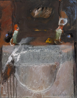 'Con Sergio Forés', obra de Fernando Peiró Coronado. Medidas, 32x25. Técnica mixta: óleo y ceras sobre tabla preparada matéricamente.