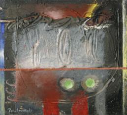 'Introducción al acto creativo', obra de Fernando Peiró Coronado. Medidas, 22x24. Técnica mixta: óleo y ceras sobre tabla preparada matéricamente.