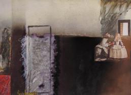 Serie. Meninas I. Obra de Fernando Peiró Coronado. Medidas, 32x40. Técnica mixta: óleo, spray, ceras, pastel y papel sobre reprografía preparada matéricamente..