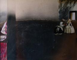 Serie. Meninas II. Obra de Fernando Peiró Coronado. Medidas, 32x40. Técnica mixta: óleo, spray, ceras, pastel y papel sobre reprografía preparada matéricamente..