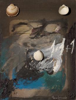 'Variantes de mujer', obra de Fernando Peiró Coronado. Medidas, 32x25. Técnica mixta: óleo, ceras y conchas sobre tabla preparada matéricamente.