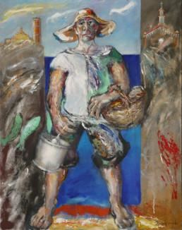 'Pescador', obra de Fernando Peiró Coronado. Medidas, 92x73. Técnica mixta: óleo sobre lienzo. Obra del Restaurante El Cortijo en Benicarló.