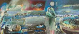 'Recuerdos y el mar', obra de Fernando Peiró Coronado. Medidas, 115x265. Técnica mixta: óleo, ceras, acrílico y spray sobre lienzo . Obra propiedad Restaurante Chuanet.