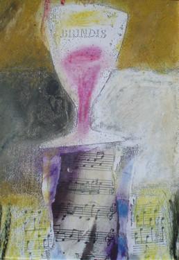 Serie. Brindis. Obra de Fernando Peiró Coronado. Medidas, 21x14. Técnica mixta: ceras y óleo sobre reprografía en cartulina.
