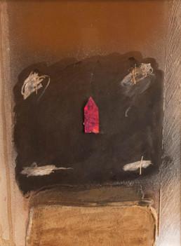 'Despejando el enigma', obra de Fernando Peiró Coronado. Medidas, 42x35. Técnica mixta: óleo, spray, ceras y papel sobre cartulina preparada matéricamente.