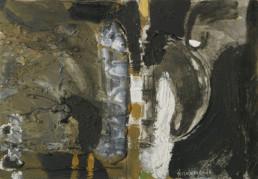 'Instrumentación para requiem', obra de Fernando Peiró Coronado. Medidas, 27x38. Técnica mixta: óleo, ceras y spray sobre tabla preparada con arena y látex.