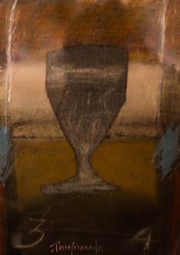 'Ni una, ni dos', obra de Fernando Peiró Coronado. Medidas, 20x15. Técnica mixta: Ceras, pastel y tela sobre cartulina.