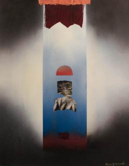 'Paisajes humanos II' obra de Fernando Peiró Coronado. Medidas, 64x50. Esta obra forma pareja con 'Paisajes humanos I'. Spray y collage de tela y papel sobre cartulina.