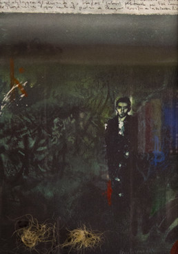 Obra de Peiró Coronado. Serie realizada en 2004, en recuerdo de Franz Kafka. Óleo, ceras y esparto reprografía en cartulina. Medidas, 49x35.