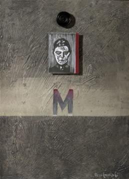 'Tarde abrochada con Inger Munch', obra de Fernando Peiró Coronado. Medidas, 33x25. Técnica mixta: óleo, papel y botón sobre tabla preparada con polvo de mármol.