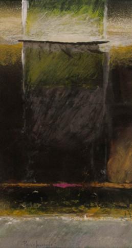 'Composición con tul', obra de Fernando Peiró Coronado. Medidas, 40x21. Técnica mixta: ceras, pastel y tul sobre cartulina.