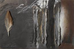 'Huellas escritas en el alma', Obra de Fernando Peiró Coronado. Medidas, 16x25. Técnica mixta: óleo, ceras y pluma sobre tabla preparada con polvo de marmol y látex.
