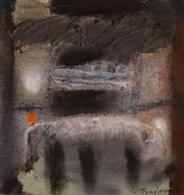 'Llamadas desde no se sabe donde', obra de Fernando Peiró Coronado. Medidas, 23x21. Técnica mixta: óleo sobre tabla entelada preparada con arena y látex.
