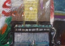 'Música para un tsunami' obra de Fernando Peiró Coronado. Serie realizada en colaboración con Cáritas Diocesana. 20x29. Óleo, ceras y collage de patituras sobre reprografía en cartulina.