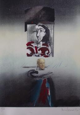 'Jugando con Picasso' obra de Fernando Peiró Coronado. Serie realizada en 2003, en el 30 aniversario de la muerte de Picasso. 41x29. Óleo, ceras, spray y collage sobre reprografía en cartulina.
