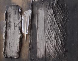Obra de Fernando Peiró Coronado. Medidas, 26x32. Técnica mixta: óleo y pluma sobre tabla preparada con polvo de marmol y látex.