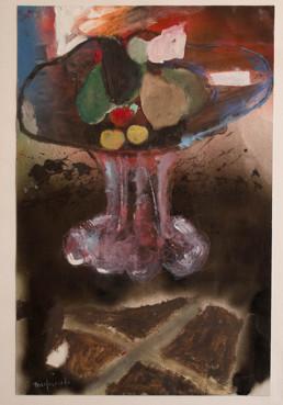 'Bodegón', obra de Fernando Peiró Coronado realizada en 2005 . Óleo, spray, pastel, ceras y papel sobre cartulina. Medidas 57x37.