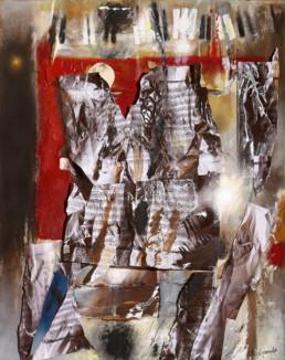 'Con Carles Santos', de Peiró Coronado. Óleo, spray, ceras y partituras sobre tabla entelada preparada con polvo de mármol. Medidas 87x70.