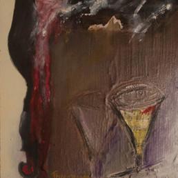 'El vals del brindis', obra de Fernando Peiró Coronado. Óleo, spray, ceras y papel sobre tabla preparada con arena y látex, Medidas, 31x30.