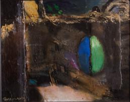 'Ya solo el recuerdo' obra de Fernando Peiró Coronado. Óleo, ceras y spray sobre tabla preparada con arena y látex. Medidas 25x32