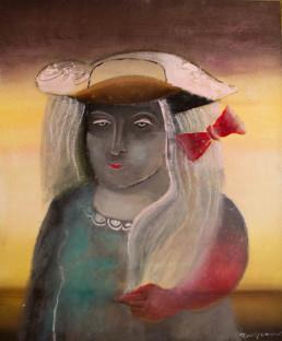 'Ella siempre llena de razón' obra de Fernando Peiró Coronado. Óleo, ceras y pastel sobre tabla entelada. Medidas 65x54. Obra singular.