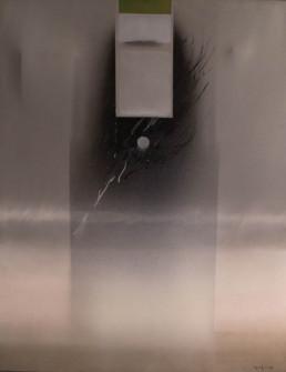 'Fluyendo en el espacio I' obra de Fernando Peiró Coronado. Medidas, 92x73. Óleo y spray sobre lienzo. Obra pareja de 'Fluyendo en el espacio II'