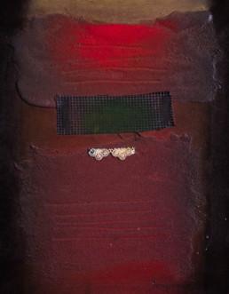 ''La anciana silenciosamente recuerda', obra de Fernando Peiró Coronado. 33x25. Técnica: spray, óleo y tela sobre tabla preparada con arena y látex